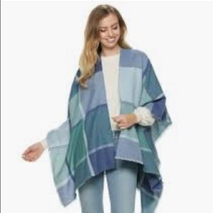 LC LAUREN CONRAD Blue Green Wrap Shawl Poncho